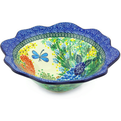 "Polish Pottery Bowl 10"" Garden Delight UNIKAT"