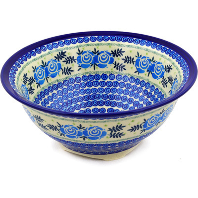 "Polish Pottery Bowl 10"" Lady Blue Roses UNIKAT"