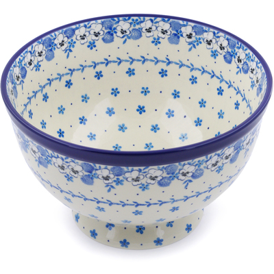 "Polish Pottery Bowl 10"" White Pansy"