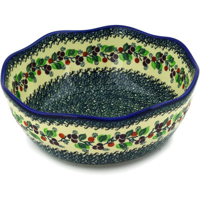 "Polish Pottery Bowl 11"" Berry Garland"