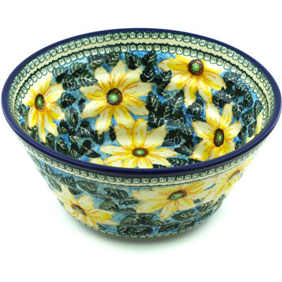 "Polish Pottery Bowl 11"" Black Eyed Susan UNIKAT"