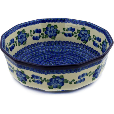 "Polish Pottery Bowl 11"" Blue Poppies"