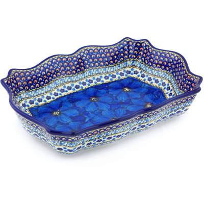 "Polish Pottery Bowl 11"" Cobalt Poppies UNIKAT"