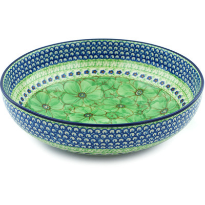 "Polish Pottery Bowl 11"" Key Lime Dreams UNIKAT"