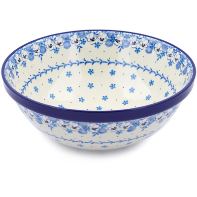 "Polish Pottery Bowl 11"" White Pansy"