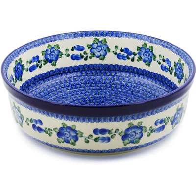 "Polish Pottery Bowl 12"" Blue Poppies"