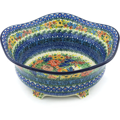"Polish Pottery Bowl 12"" Mosaic Butterfly UNIKAT"