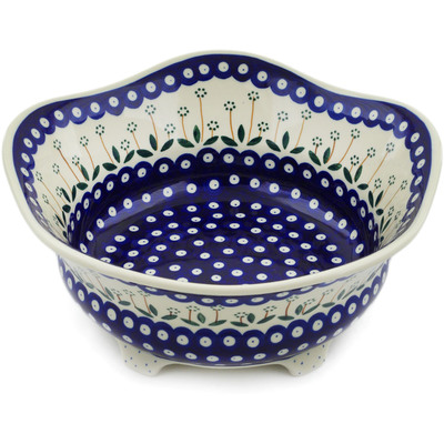 "Polish Pottery Bowl 12"" Springing Daisies"