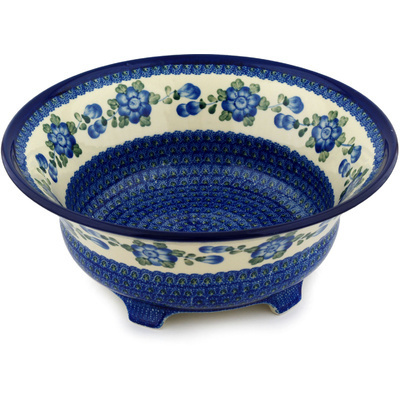 "Polish Pottery Bowl 13"" Blue Poppies"