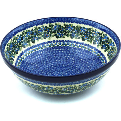 "Polish Pottery Bowl 13"" Forget-me-not Medley UNIKAT"