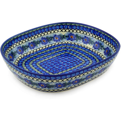 "Polish Pottery Bowl 14"" Blue Delight UNIKAT"