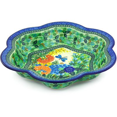 "Polish Pottery Bowl 14"" Garden Delight UNIKAT"