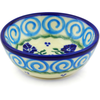 "Polish Pottery Bowl 3"" Blue Bursts"