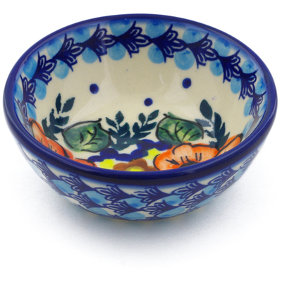 "Polish Pottery Bowl 3"" Bold Poppies UNIKAT"