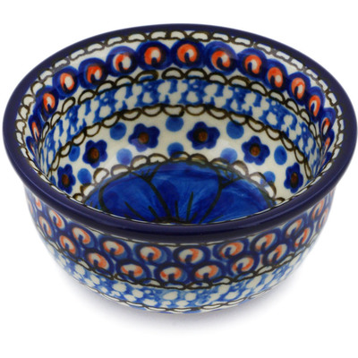 "Polish Pottery Bowl 3"" Cobalt Poppies UNIKAT"