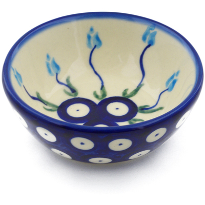 "Polish Pottery Bowl 3"" Peacock Tulip Garden"