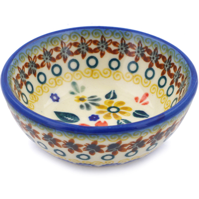 "Polish Pottery Bowl 3"" Red Anemone Meadow UNIKAT"