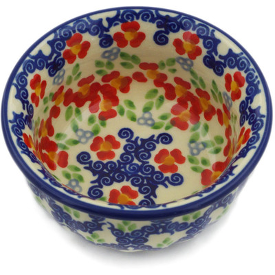 "Polish Pottery Bowl 3"" Red Chains UNIKAT"