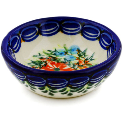 "Polish Pottery Bowl 3"" Ring Of Flowers UNIKAT"