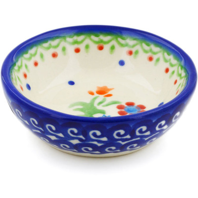 "Polish Pottery Bowl 3"" Spring Flowers"
