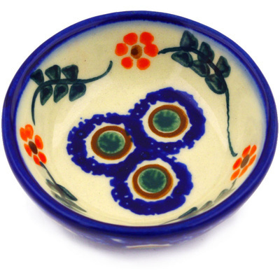 "Polish Pottery Bowl 3"" Sunflower Peacock"
