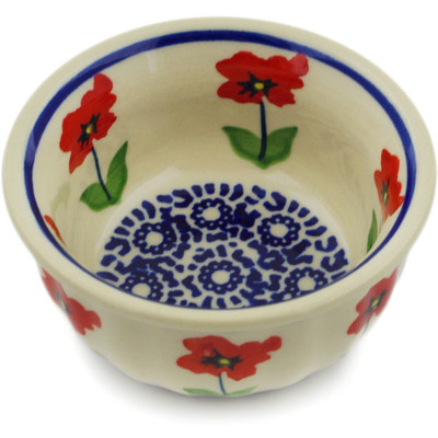 "Polish Pottery Bowl 3"" Wind-blown Poppies"