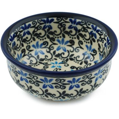 "Polish Pottery Bowl 4"" Black And Blue Lace"