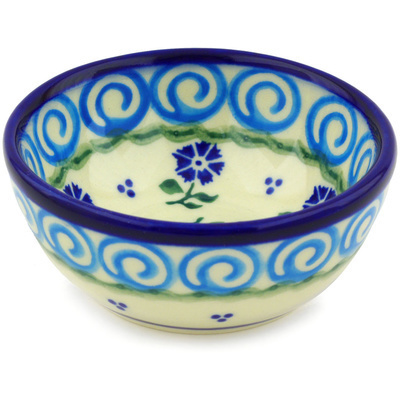 "Polish Pottery Bowl 4"" Blue Bursts"