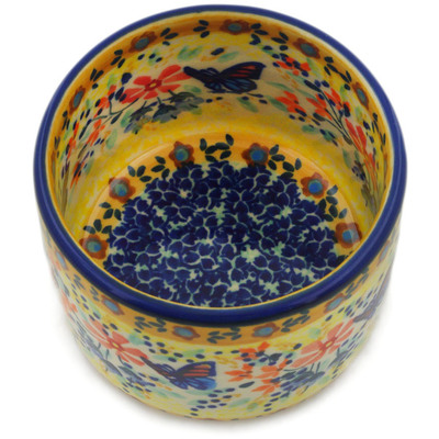 "Polish Pottery Bowl 4"" Butterfly Summer Garden UNIKAT"