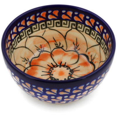 "Polish Pottery Bowl 4"" Fire Poppies UNIKAT"