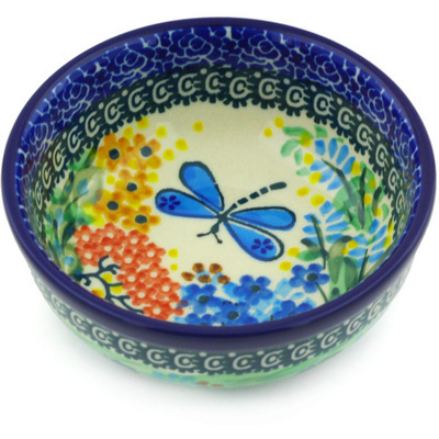 "Polish Pottery Bowl 4"" Garden Delight UNIKAT"