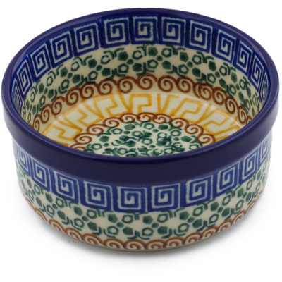 "Polish Pottery Bowl 4"" Grecian Sea"