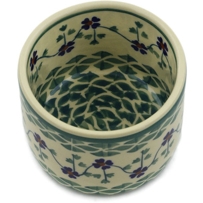 "Polish Pottery Bowl 4"" Lucky Blue Clover"
