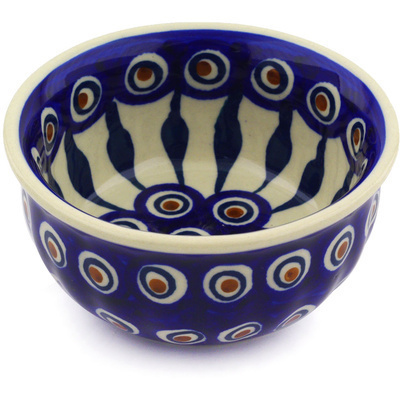 "Polish Pottery Bowl 4"" Peacock"
