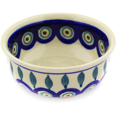 "Polish Pottery Bowl 4"" Peacock Leaves"