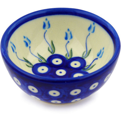 "Polish Pottery Bowl 4"" Peacock Tulip Garden"