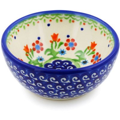 "Polish Pottery Bowl 4"" Spring Flowers"