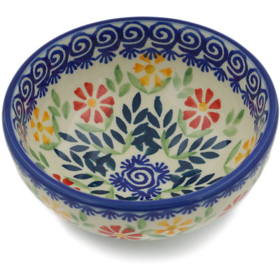 "Polish Pottery Bowl 4"" Wave Of Flowers"