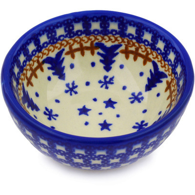 "Polish Pottery Bowl 4"" Winter Snow"