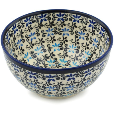 "Polish Pottery Bowl 5"" Black And Blue Lace"