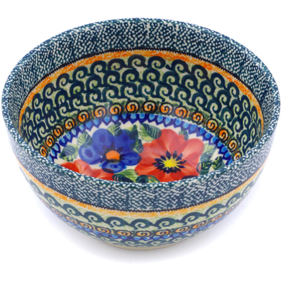 "Polish Pottery Bowl 5"" Blue And Red Poppies UNIKAT"
