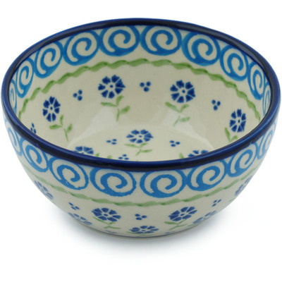 "Polish Pottery Bowl 5"" Blue Bursts"