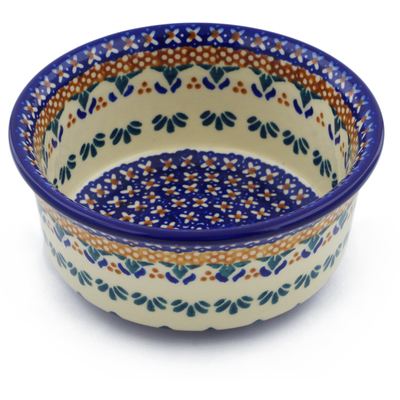"Polish Pottery Bowl 5"" Blue Cress UNIKAT"