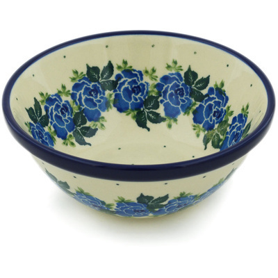 "Polish Pottery Bowl 5"" Blue Garland"
