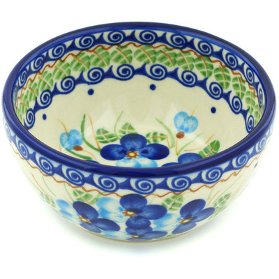 "Polish Pottery Bowl 5"" Blue Pansy"
