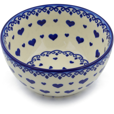 "Polish Pottery Bowl 5"" Blue Valentine"