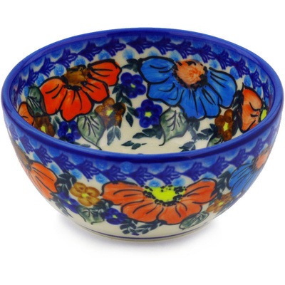 "Polish Pottery Bowl 5"" Bold Poppies UNIKAT"