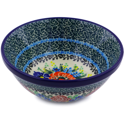 "Polish Pottery Bowl 5"" Bountiful Bouquet UNIKAT"