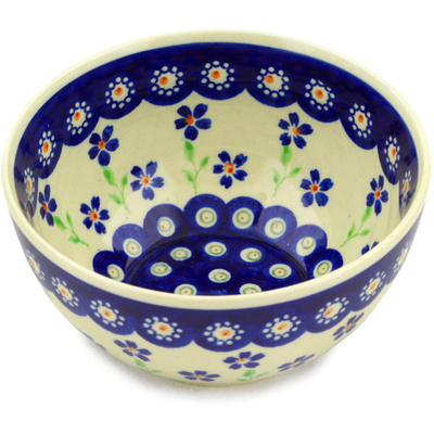 "Polish Pottery Bowl 5"" Bright Peacock Daisy"