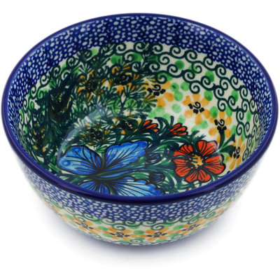 "Polish Pottery Bowl 5"" Butterfly Holly UNIKAT"